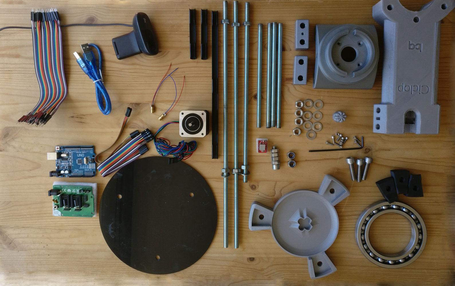 Parts of Ciclop 3D scanner